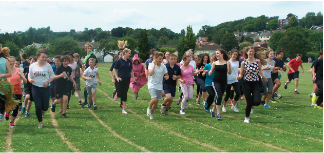Fun run organised by Year 8 Bassaleg pupils to raise money for the HUGE Partnership